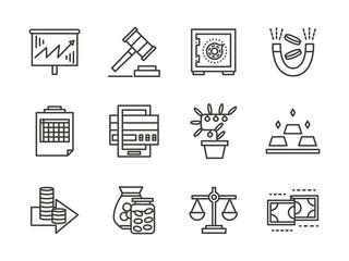 Finance black line icons set