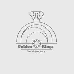 Jewelry vector logo design template with ring