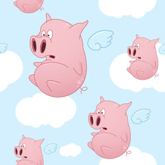Flying Cartoon Pigs Seamless Pattern