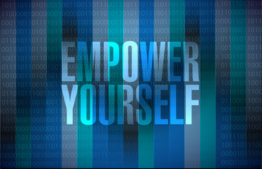 Empower Yourself binary background sign