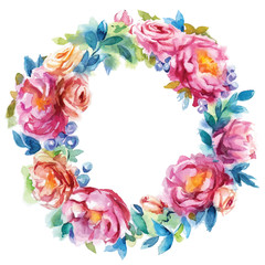 hand painted watercolor wreath. Flower decoration. Floral design. vector illustration.