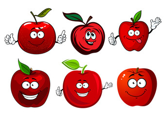Cartoon sweet red apple fruit characters