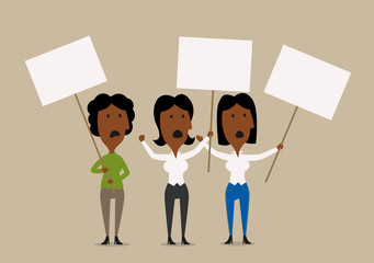Cartoon businesswomen protesters with placards