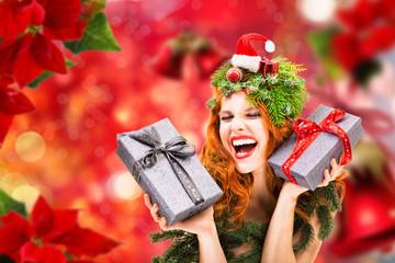 christmas happy woman