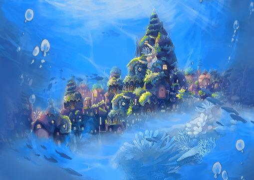 Illustration: Sea City. Realistic Cartoon Style. Fantastic Sci-Fi Scene / Wallpaper / Background Design.