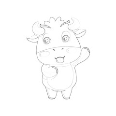 Illustration: Coloring Book Series: Singing Cow. Soft line. Print it and bring it to Life with Color! Fantastic Outline / Sketch / Line Art Design.
