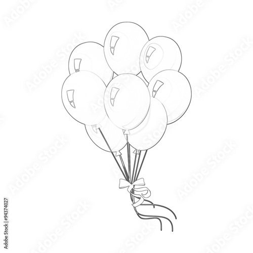 illustration coloring book series bunch of balloons soft line print it and