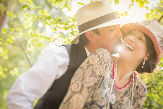 1920s Dressed Romantic Couple Flirting Outdoors