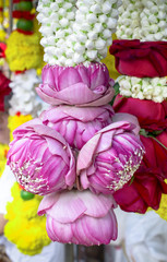 Thai lotus bud garland, Flower garlands for Buddhism religious ceremony