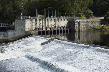 Spillway on dam of the Androscoggin River in Rumford, Maine.
