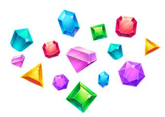 Illustration: Colorful Falling Gems. Realistic Cartoon Style. Fantasy Scene / Wallpaper / Background Design.