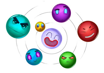 Illustration: The Galaxy of Planets with Expressions. Realistic Cartoon Style. Fantasy Scene / Wallpaper / Background Design.