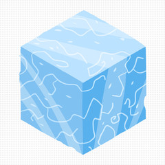 Vector cartoon flat isometric game brick cube.