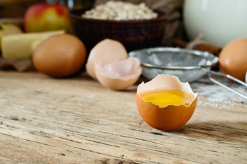 Egg yolk on a wooden table