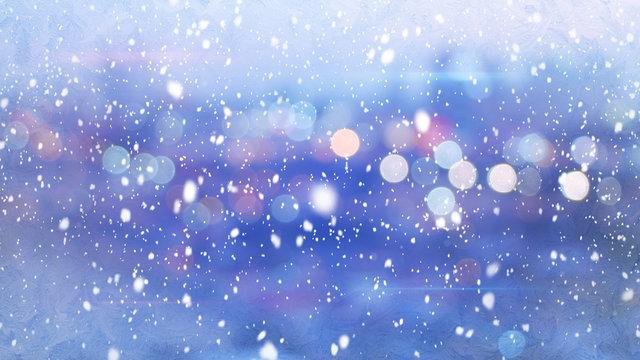 snowfall and defocused lights evening wintry city