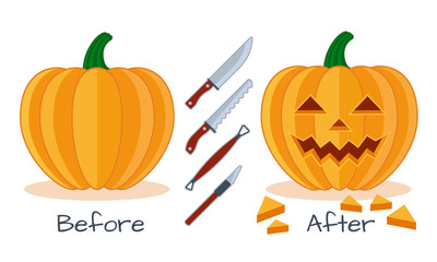 Pumpkin vector halloween icon, sculpture tools, scheme before and after,