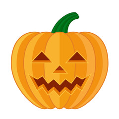 Pumpkin face flat vector halloween icon