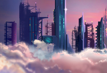 Illustration: The Future City Built High into the Clouds in 2048. Realistic Cartoon Style. Sci-Fi Scene / Wallpaper / Background Design.