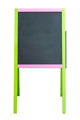 Blank chalk advertising board isolated on white.