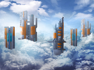 Illustration: The City in the Clouds. Realistic / Cartoon Style. Fantasy Topic. Scene / Wallpaper / Background Design.