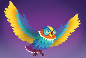Illustration: The Owl. Cartoon Style. Fantastic Nature Topic. Leading Role / Main Character Design.