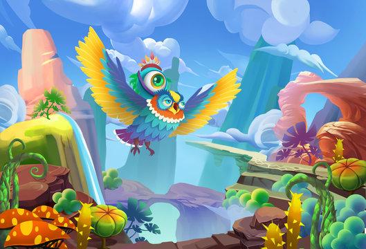 Illustration: The Big Eye's Adventure Series 2 - Mr.owl taking him flying through the mountain. Cartoon Style. Fantasy Topic. Scene / Wallpaper / Background Design.