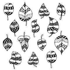 Set of zentangle-style leaves
