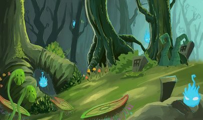 Illustration: The Ancient Forest with Wisp's Fire. Realistic / Cartoon Style. Fantastic Topic. Scene / Wallpaper / Background Design.