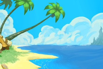 Illustration: The Watchtower on the Beach. Realistic / Cartoon Style. Fantastic Topic. Scene / Wallpaper / Background Design.