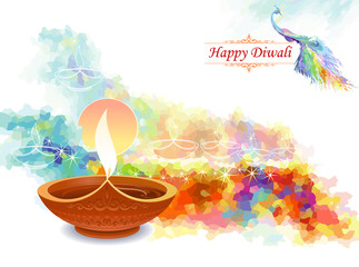 Artistic water colored diwali greeting