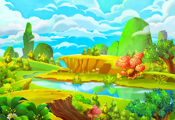 Illustration: The River. Cartoon Style. Nature Topic. Scene / Wallpaper / Background Design.