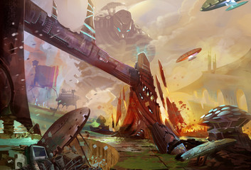 Illustration: The Future Earth - A Trash Planet - Occupied by Aliens and Robots. Realistic Style. Sci-Fi Topic. Scene / Wallpaper / Background Design.