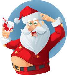 Drunk Santa Claus Vector Cartoon