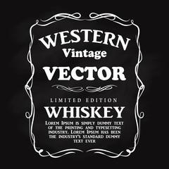 Western design frame flourish hand drawn label blackboard vintag