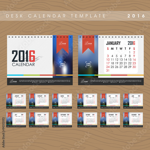 Desk Calendar 2016 Vector Design Template Stock Image And Royalty