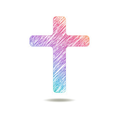 painted Cross logo. colors of rainbow