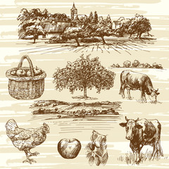 farm, harvest, rural landscape - hand drawn set