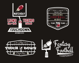 American football field and goal team badge, sport pub logo, label, insignia set in retro color style. Graphic vintage design for t-shirt, web. Colorful print isolated on a dark background. Vector