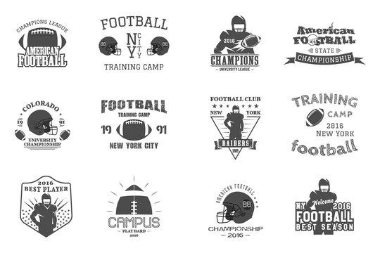 College rugby and american football team, campus, college badges, logos labels insignias in retro style Graphic vintage design for t-shirt, web. Monochrome print isolated on a white background. Vector
