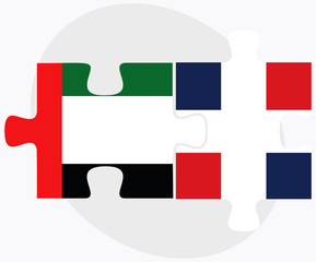 United Arab Emirates and Dominican Republic Flags