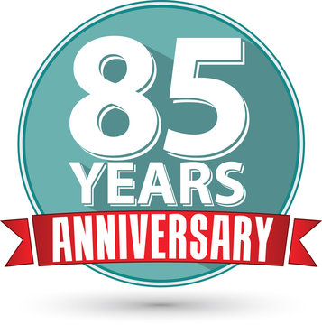 Flat design 85 years anniversary label with red ribbon, vector i