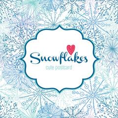 Snowflakes. Cute vector postcard.