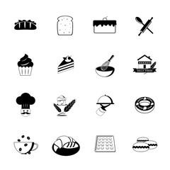 Bakery Icons, Black, vector