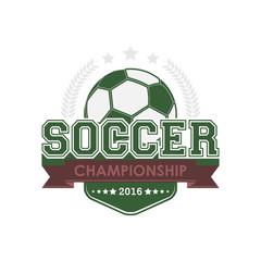 Soccer championship emblem vector.