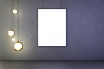 Blank picture frame with lightbulbs in the dark concrete room, m