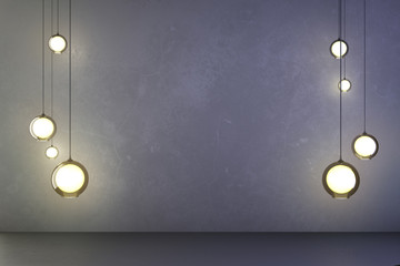 Lightbulbs in the dark concrete room
