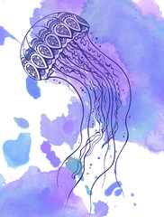 Hand drawn vector jellyfish in zentangle doodle style