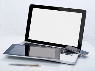 Laptop, tablet and phone
