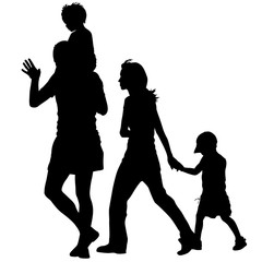 Silhouettes Family on white background. Vector