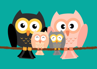 Owls family on tree with two lovely children vector illustration.